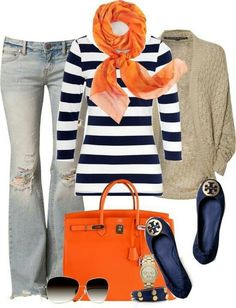 Orange, navy, white a must for fall!!! LOVE LOVE LOVE