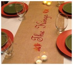 Burlap Table Runner  12 14 & 15 wide Name by CreativePlaces, $18.00