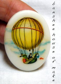 Vintage Cabochon - 1 Rare Illustrated Historic Hot Air Balloon Ship 30x40MM Glass 1950s/1960s Steampunk Balloon Ship with Uniform Crew OOAK by bansheehouseofmake on Etsy
