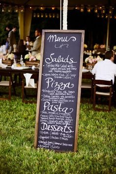 Great idea to post what all is on the menu-parties, weddings, rehearsal dinners