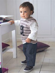 Festliches Jungen-Set aus Hemd und Hose mit Hosenträgern von Vertbaudet
