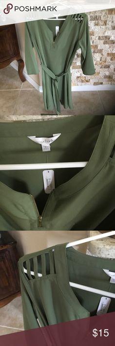 Olive green tie waist dress Never worn. Very cute Charming Charlie Dresses