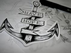 'Have Hope' Anchor tattoo design / illustration - John Hobbs
