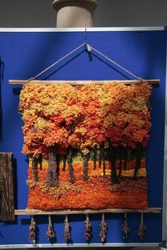 of Autumn (photo only) Weaving Textiles, Weaving Art, Weaving Patterns, Tapestry Weaving, Loom Weaving, Hand Weaving, Weaving Wall Hanging, Felt Pictures, Textile Fiber Art