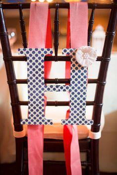 Preppy polka-dot chair decor! #monogram #pink #blue (Photo by Abby Grace Photo)