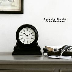 You can't beat a classic.  The Writing Desk mantel clock from Newgate.  Monochrome styling by sarah_grace_interior.  #newgateclocks #iconic #britishdesign #newgate