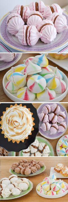 Espectacular Cómo Hacer MERENGUES: Francés, Suizo, Italiano, Recetas, Usos y Diferencias!   #merengues #frances #suizo #italiano #usos #diferencias #merengue #crema #limón  #tips #pan #panfrances #panettone #panes #pantone #pan #receta #recipe #casero #torta #tartas #pastel #nestlecocina #bizcocho #bizcochuelo #tasty #cocina #chocolate   Si te gusta dinos HOLA y dale a Me Gusta MIREN … Small Desserts, Mini Desserts, Yummy Cookies, Cupcake Cookies, Cookie Time, Cake Board, Cute Cakes, Sweet Bread, Macaroons