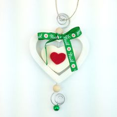 Cuore Bianco Noel handmade wood heart decoration only by Daffodil Bijoux