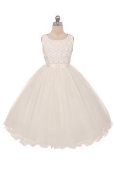 Bruidsmeisjes jurk, adora. ivoren jurkje met bewerkt lijfje en tule rok.