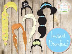 INSTANT DOWNLOAD PRINCESS Photobooth Props by UponATimeDesigns