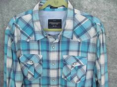 American Eagle Turquoise Plaid Shirt XXL Pearl Snap Pockets  Western 2X 52 Chest #AmericanEagle #Western