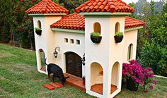 Created by custom doghouse design artists at La Petite Maison, this 30 thousand dollar red clay-roofed manse is large enough to accommodate a human and comes complete with terra-cotta floors. Who's the lucky pooch that calls this humble abode home? This casa belongs to the pets of actress/model Rachel Hunter and is a scaled-down version of her California house.