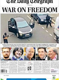 PHOTOS: Newspaper front pages pay tribute to 'Charlie Hebdo' day after Paris attack Satire, New York Times, Newspaper Front Pages, The Daily Telegraph, Charlie Hebdo, In Cold Blood, Sky News, George Orwell, Political Issues