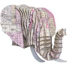 Eyan Elephant Jr Dc Vintage Map Medium ($40) ❤ liked on Polyvore featuring home, home decor, black, home & living, home décor, wall décor, wall hangings, vintage animal figurines, map home decor and black globe
