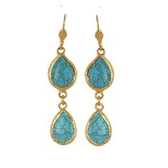 Pear Shape Turquoise Earrings, Turkish Jewelry.