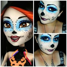 """Monster High """"Skelita Calaveras"""" Face Makeup. Will need this as reference for Kylie's costume!"""