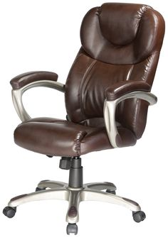 Comfort Products 60-5821 Granton Leather Executive Chair with Adjustable Lumbar Support, Brown. Soft bonded leather upholstery in Mocha brown. Adjustable lumbar support. Padded arms with color coat finish. Tilt, tension, lock, swivel, pneumatic lift seat height adjust. Meets or exceeds BIFMA standards with 250 lbs weight capacity.