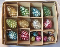 Vintage Japan Mercury Glass Pinecone  Ornaments.  LOVE these, and I don't know why!!!