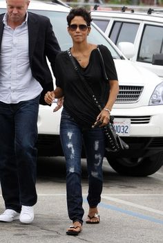 Halle Berry Clothes..ripped jeans