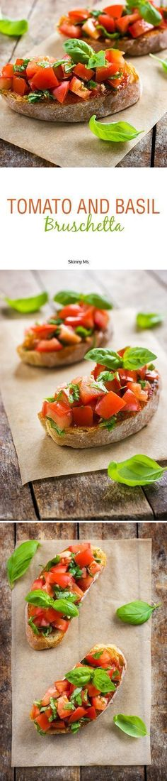 """Pronounced """"broos-keh-tah,"""" this Skinny Ms. Tomato and Basil Bruschetta is a delicious appetizer that will have you dreaming of a Tuscan vacation."""