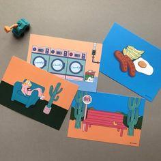 콤마비 일러스트 엽서 ver.2 레트로 Pop Design, Postcard Design, Illustrations And Posters, Art Sketchbook, Design Reference, Sticker Design, Graphic Illustration, Pop Up, Layout