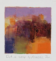Oct. 6, 2014 - Original Abstract Oil Painting - 9x9 painting (9 x 9 cm - app. 4…