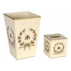Napoleonic Gold Bee in Garland on Ivory Wastebasket and Tissue Box Set
