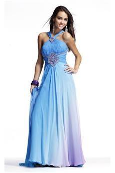 Elegant Halter Floor Length A Line Prom Dresses
