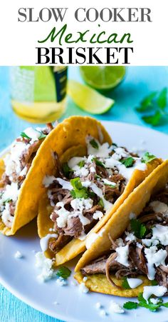 Easy Slow Cooker Mexican Brisket recipe, simmered with chiles, and spices making it so easy to shred. Perfect for making tacos, nachos, burritos, salads, or anything you want!