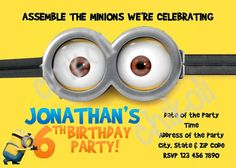 5x7 Despicable Me Invitation FREE goodie bag labels and minion