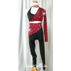 71342ba4dedc5 Black Halter Top and Pants with Burgundy Lace - Rhinestones - Size AL Tap  Costumes