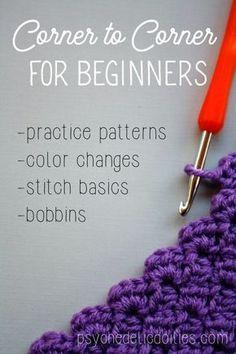 to Corner Crochet for Beginners The corner to corner crochet guide you've been missing. Great for beginner crocheters wanting to tackle corner to corner crochet guide you've been missing. Great for beginner crocheters wanting to tackle Crochet Simple, Love Crochet, Learn To Crochet, Beginner Crochet Projects, Crochet Basics, Crochet Stitches For Beginners, Beginner Crochet Patterns, Tunisian Crochet, Filet Crochet