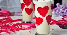deser w pucharki, deser na Walentynki, Walentynki, mus z białej czekolady, mus czekoladowy, mus czekoladowy bez żółtek, mus z białej czekolady bez żółtek, Glass Of Milk, Panna Cotta, Sweet Treats, Ethnic Recipes, Food, Ideas, Dulce De Leche, Sweets, Candy