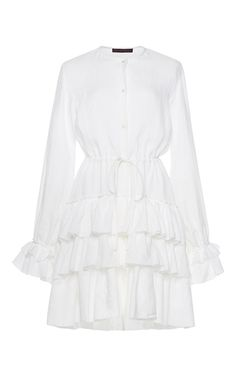Martin Grant Linen Ruffle Long Sleeve Dress