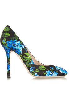 Miu Miu Floral-print canvas pumps | NET-A-PORTER