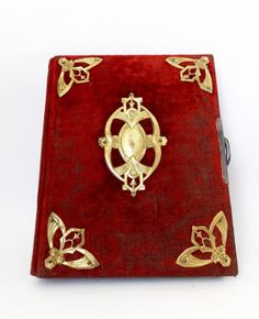 Antique 1920 Red and Gold Highly decorated photo album