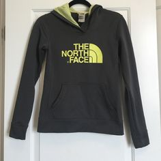 North Face Hoodie- Perfect Condition This is in perfect condition.  Dark Gray and neon yellow! North Face Tops Sweatshirts & Hoodies