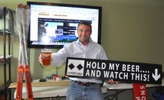 Funny Ski Sign gift idea - HOLD MY BEER AND WATCH THIS! (http://www.signsofthemountains.com/hold-my-beer-and-watch-this-ski-sign/)