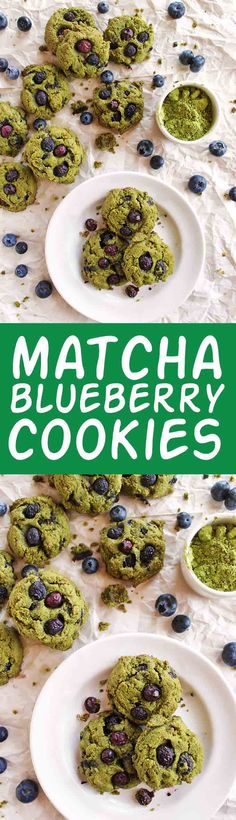 Matcha blueberry cookies - Soft cookies with grassy notes of matcha green tea and bursts of fresh blueberries. So yum!!! Easy to make and gluten free. Perfect for spring and summer!   robustrecipes,com