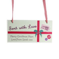 Personalised Sent With Love Wooden Christmas Sign  from Personalised Gifts Shop - ONLY £12.99