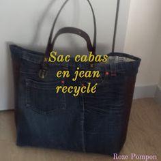Roze pompon: Un joli sac cabas en jean recyclé ! Roze pompon: Un joli sac cabas en jean recyclé ! Diy Jeans, Diy Bags Jeans, Denim Tote Bags, Diy Sac En Jean, Sewing Clothes, Diy Clothes, Umgestaltete Shirts, Denim And Co, Shirt Refashion