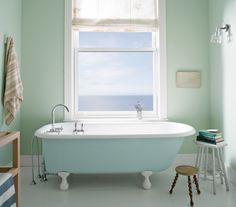 BenjaminMoore Palladian Blue HC-144 with Aura Bath & Spa, matte finish (walls).