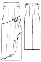 Vestido largo strapless de línea recta | EL BAÚL DE LAS COSTURERAS