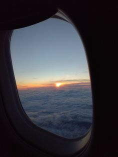 Вид из иллюминатора, небо, закат, sky, view from the porthole, sunset