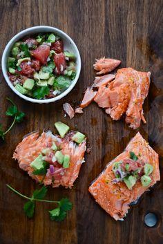 slow roasted salmon with grapefruit avocado salsa.