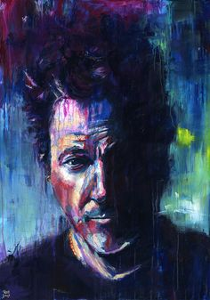 Portrait of Bruce Springsteen. 36 x 48 acrylic on canvas. Part of a series of 3 rock and rollers that includes Paul McCartney and Bob Dylan.