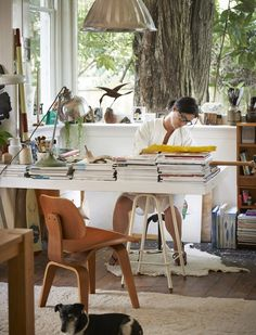 Leanne Culy's work space - love the natural light, relaxed feel.. beautiful