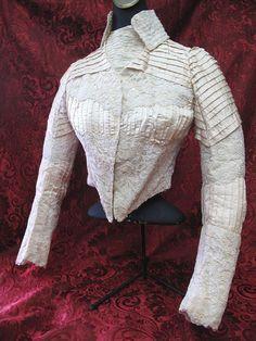 Circa 1870 Victorian Silk & Handmade Bobbin Lace Basque Bodice