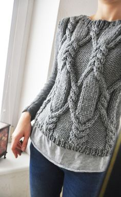 New Knitting Pullover Mom Ideas Knitwear Fashion, Knit Fashion, Cable Knitting, Hand Knitting, Cable Sweater, Gray Sweater, How To Purl Knit, Knitting Projects, Knitting Patterns