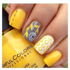 Yellow nails ❤ liked on Polyvore featuring beauty products, nail care and nail treatments